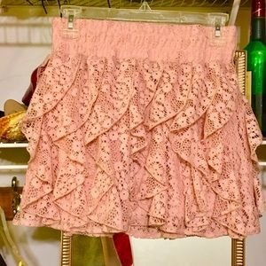 Wet Seal Pink Lace Ruffled Skirt